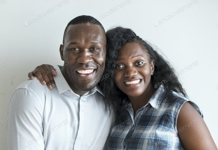 A cheerful black couple protrait