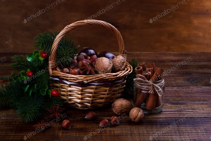 Assorted nuts and spices