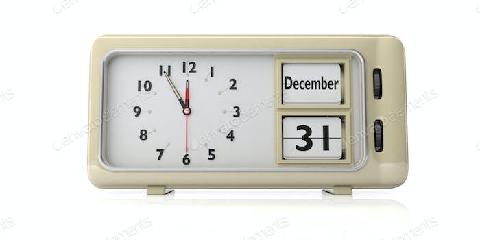 Retro Wecker mit Datum 31. Dezember isoliert auf weißem Hintergrund. 3D Illustration