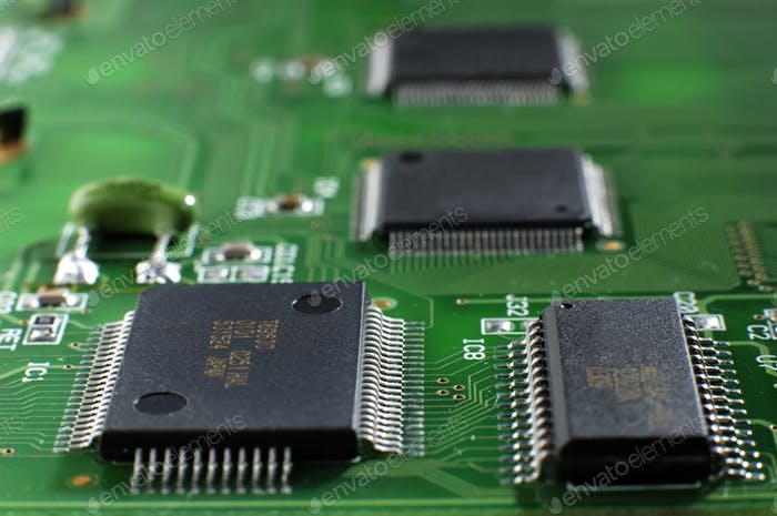 Close up green memory board with SMD chip