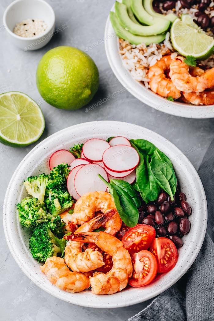 Spicy Shrimp Burrito Bowl with wild rice, spinach, radish and broccoli
