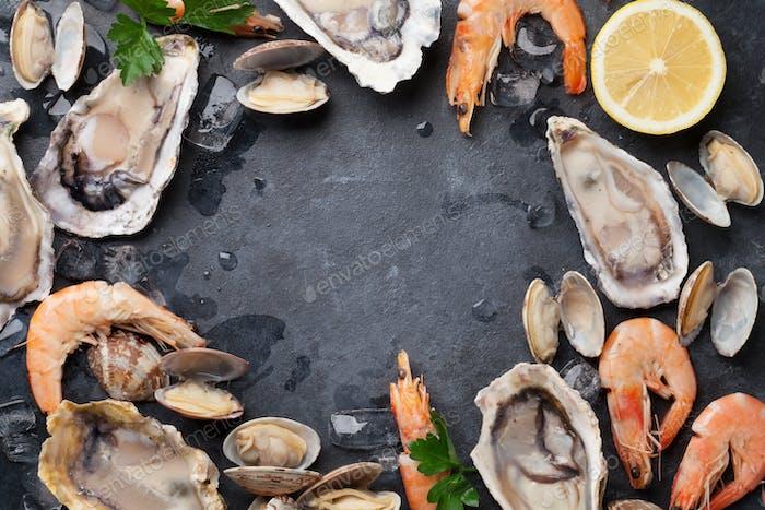 Fresh seafood on stone table