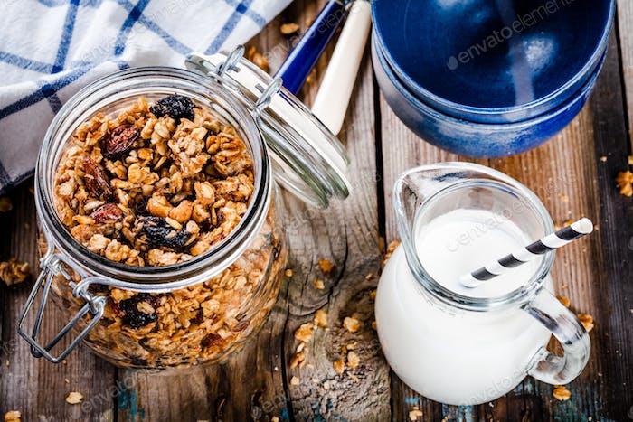 Breakfast: homemade granola and milk