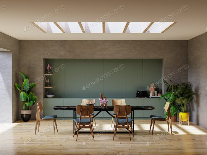 Modern dining room interior design with concrete color wall.