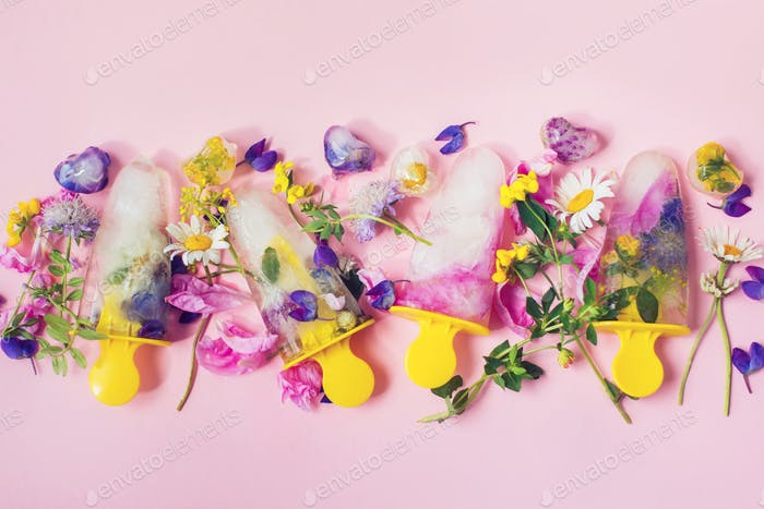 Floral Ice Pops flat lay