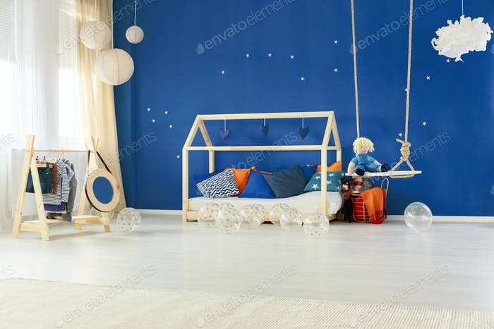 Bedroom with diy house bed