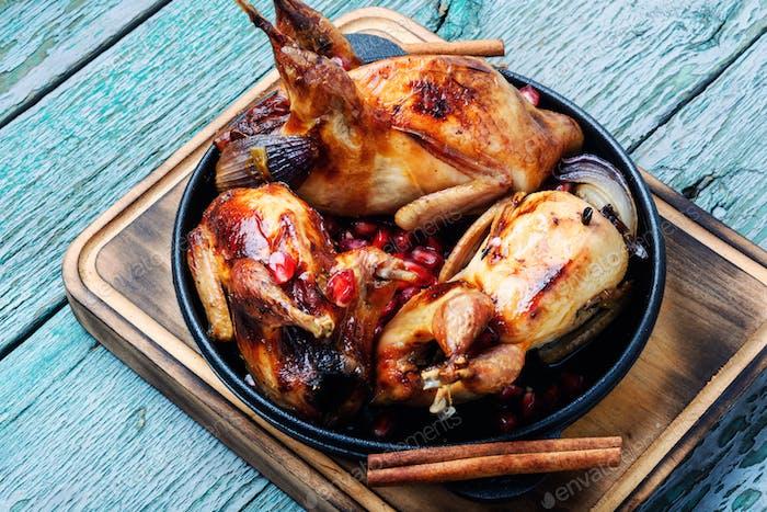 Baked quail carcasses