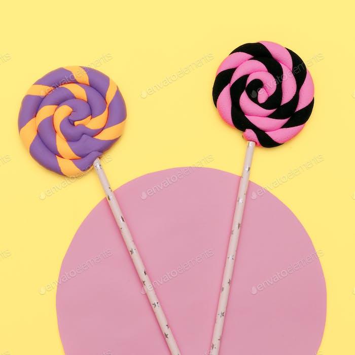 Candy Lolipops art. Fashion Vanilla Mood. Flatlay Design