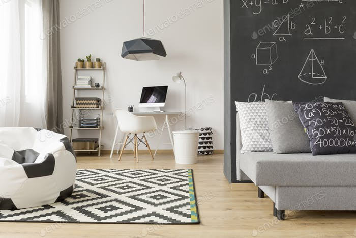 Modern room with mathematician's workplace