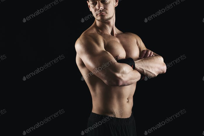 Strong Athletic Man Showes Naked Muscular Body Photo By Prostock