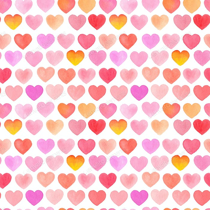 Seamless pattern with watercolor heart on white background.