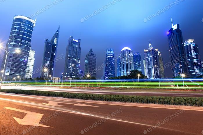 light trails in shanghai