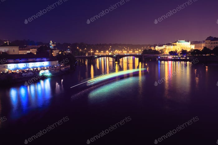 Night Over Vltava River And Manes Bridge in Prague, Czech Republ