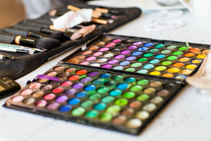 Palette with eye shadows