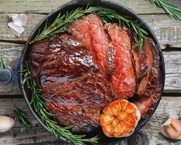 Top view of a beef steak