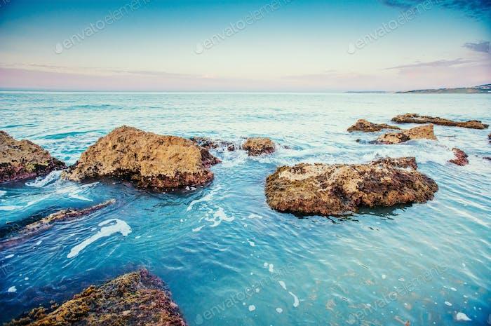 Scenic rocky coastline Cape Milazzo.Sicily, Italy.