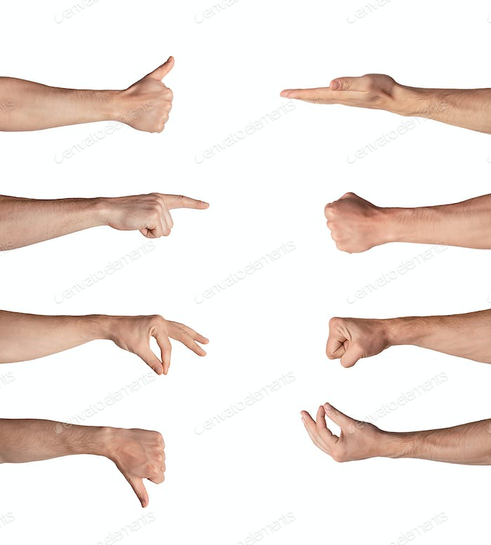 Set of Caucasian man hands showing symbols and gestures isolated on white. Collage