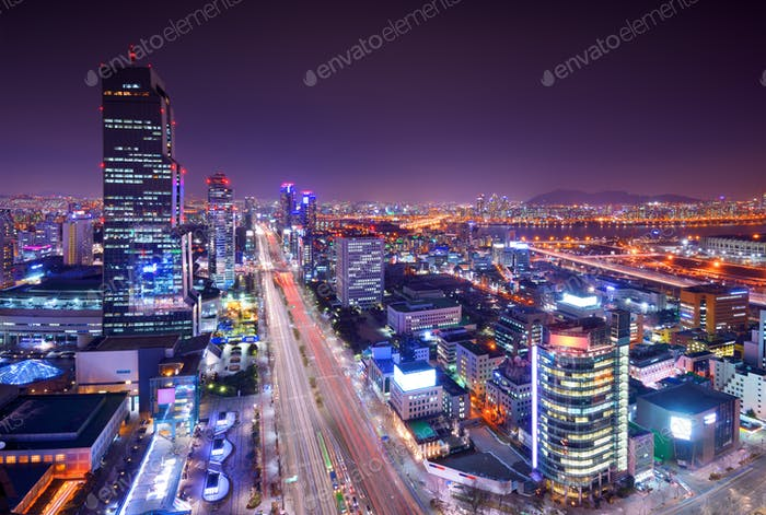 Seoul Gangnam District Skyline