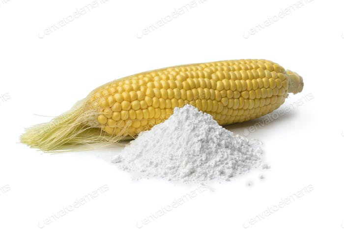 Corn on the cob and a heap of corn starch