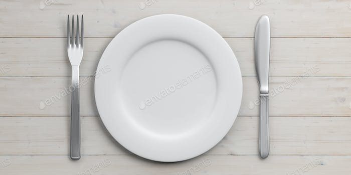 Place Setting isolated on wooden background. 3d illustration