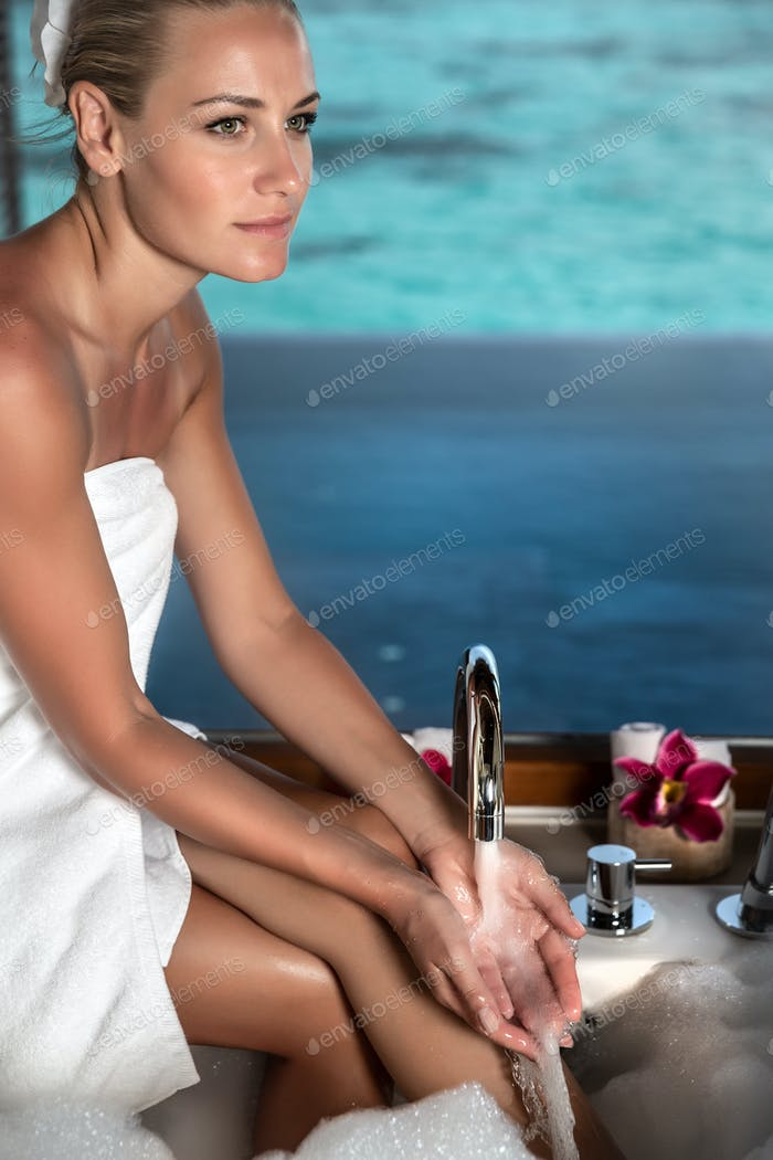 Taking bath on Maldives resort