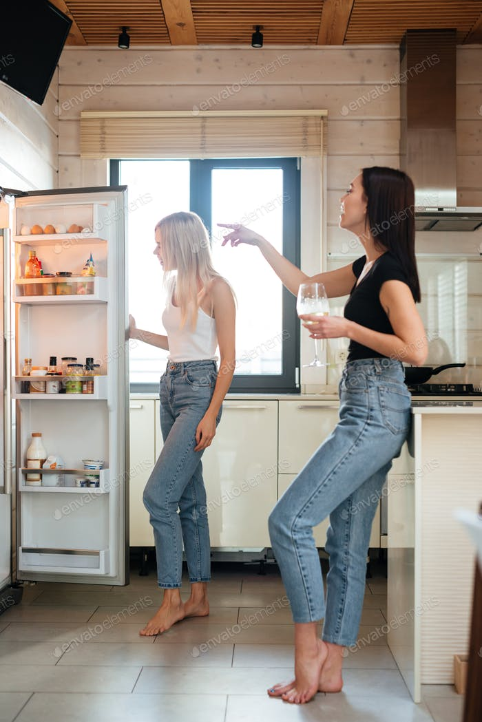 Vertical image of two women looking at the fridge