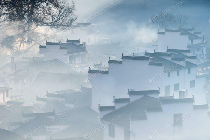beautiful shicheng village closeup in autumn