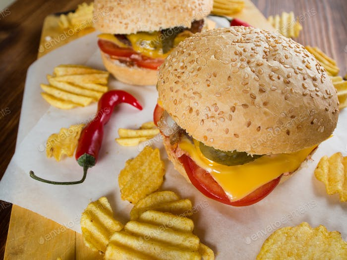 Freshly made burgers with crisps