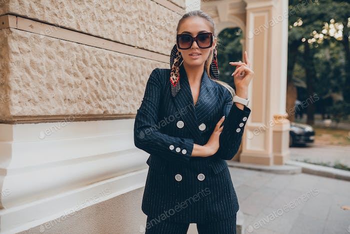 stylish attractive woman street fashion in suit
