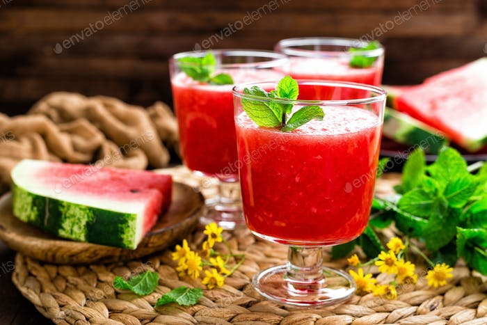 Thumbnail for Watermelon smoothie. Watermelon drink, cocktail on wooden rustic background