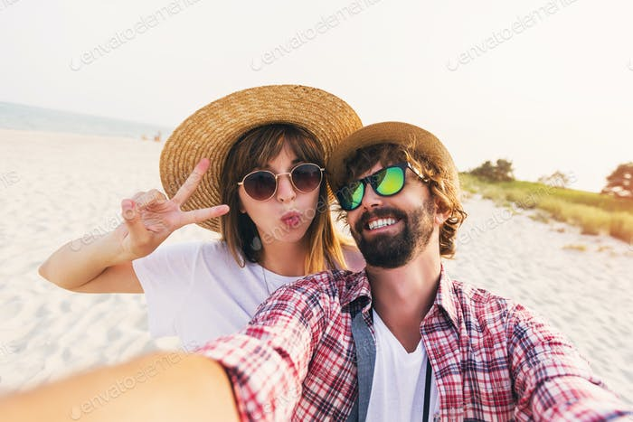 Cute  couple in love taking a selfie