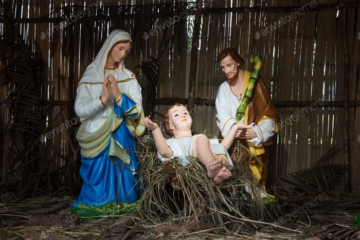 Christmas decorative creche with Holy family