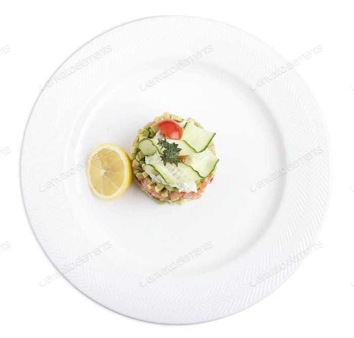 Tartar with salmon.