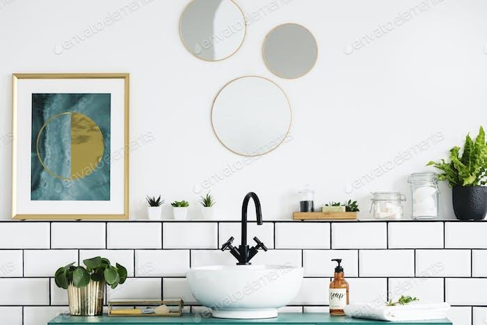 Espejos Redondos Lavabo.Poster Junto A Espejos Redondos Sobre Lavabo Y Planta En