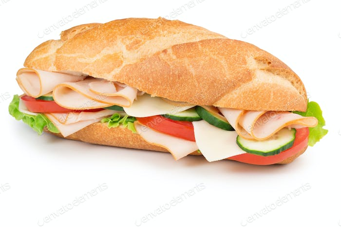 ham sandwich isolated on white