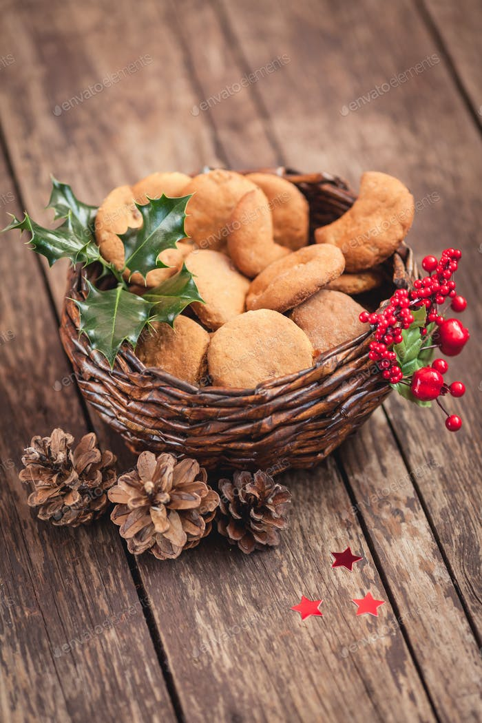 Basket with sweet Christmas cookies