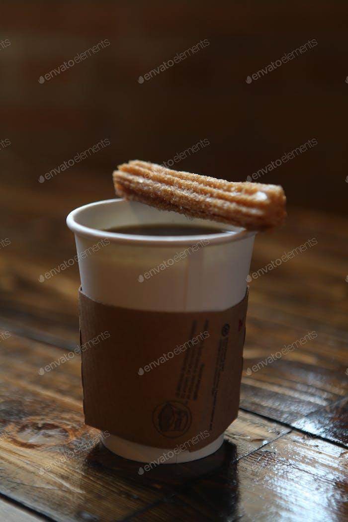 Churro on a Coffee Cup