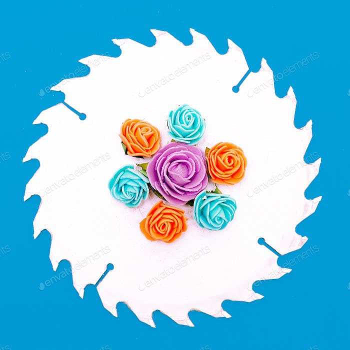 Saw and flowers on a blue background Minimal art design