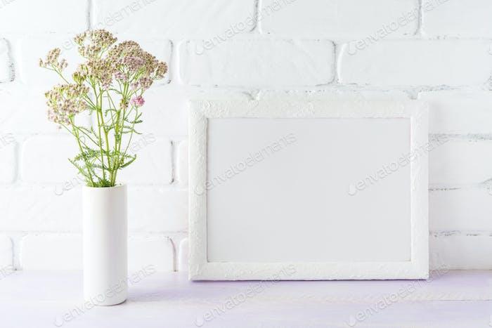 White landscape frame mockup creamy pink flowers in cylinder vas