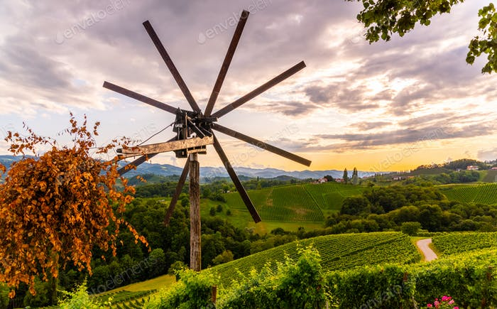 Styrian Tuscany like Vineyard with windmill, Styria, Austria