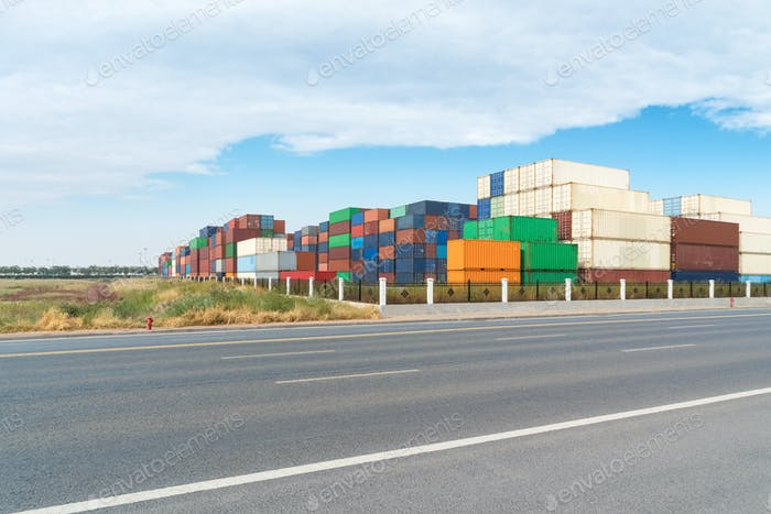 shipping container stack yard and road background
