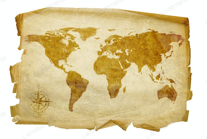 Old map, isolated on white background