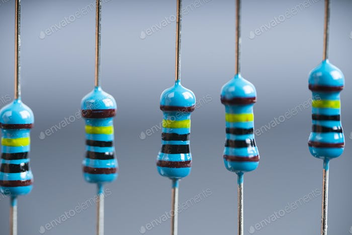 Electronic equipments resistors on the project board