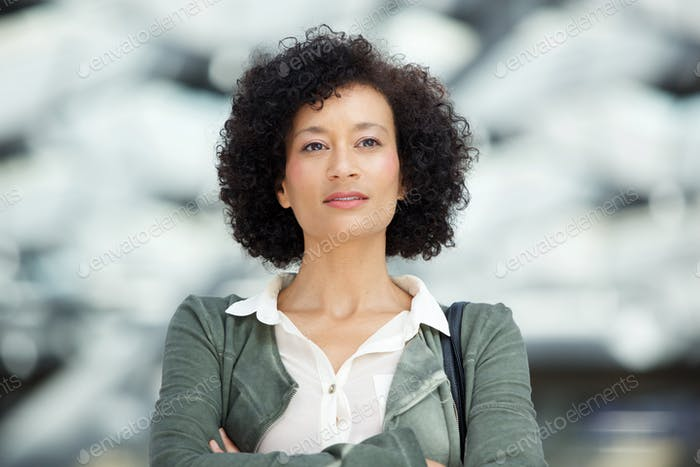 Close up attractive middle age african american woman