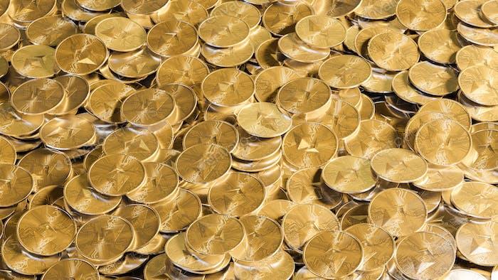 Grupos de monedas Etherum sobre la mesa