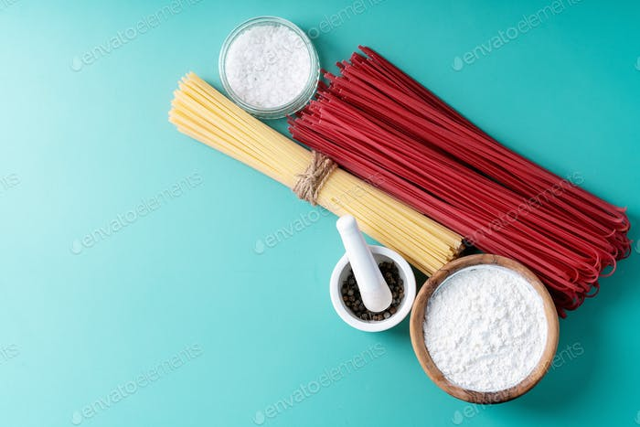 Raw ingredients for cooking pasta