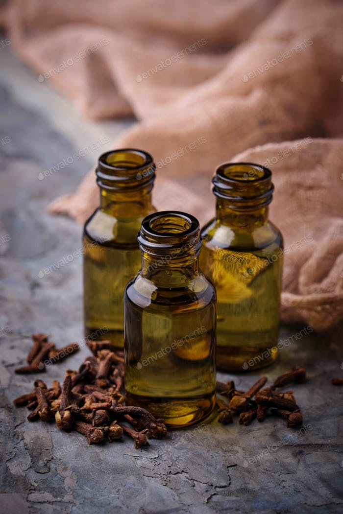 Oil of cloves in a small bottle