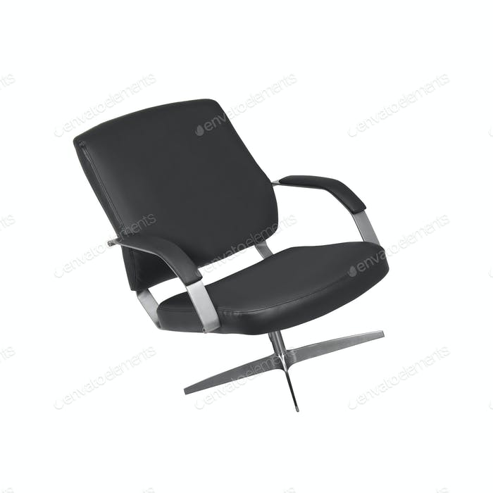 The office chair from black leather isolated on white background