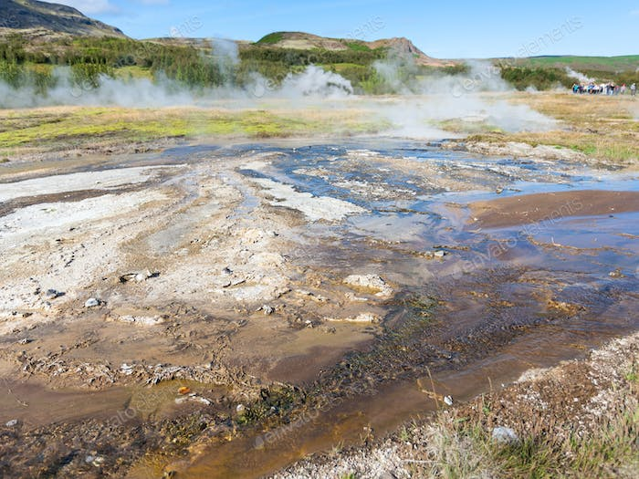 earth surface in Haukadalur hot spring valley
