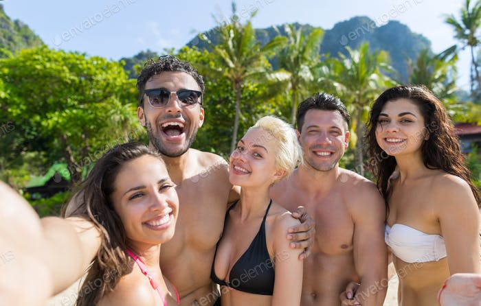 Young People Group On Beach Summer Vacation, Happy Smiling Friends Taking Selfie Photo Sea Ocean